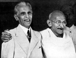 Muhammad Ali Jinnah, the father of modern Pakistan, and Mahatma Gandhi, Indian nationalist, in 1944